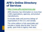 afb s online directory of services