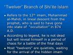 twelver branch of shi ite islam