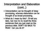 interpretation and elaboration cont