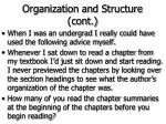 organization and structure cont