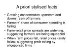 a priori stylised facts