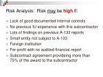 risk analysis risk may be high if