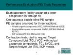 performance evaluation pe study parameters