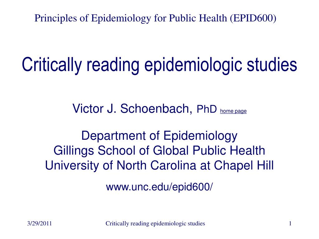 critically reading epidemiologic studies l.