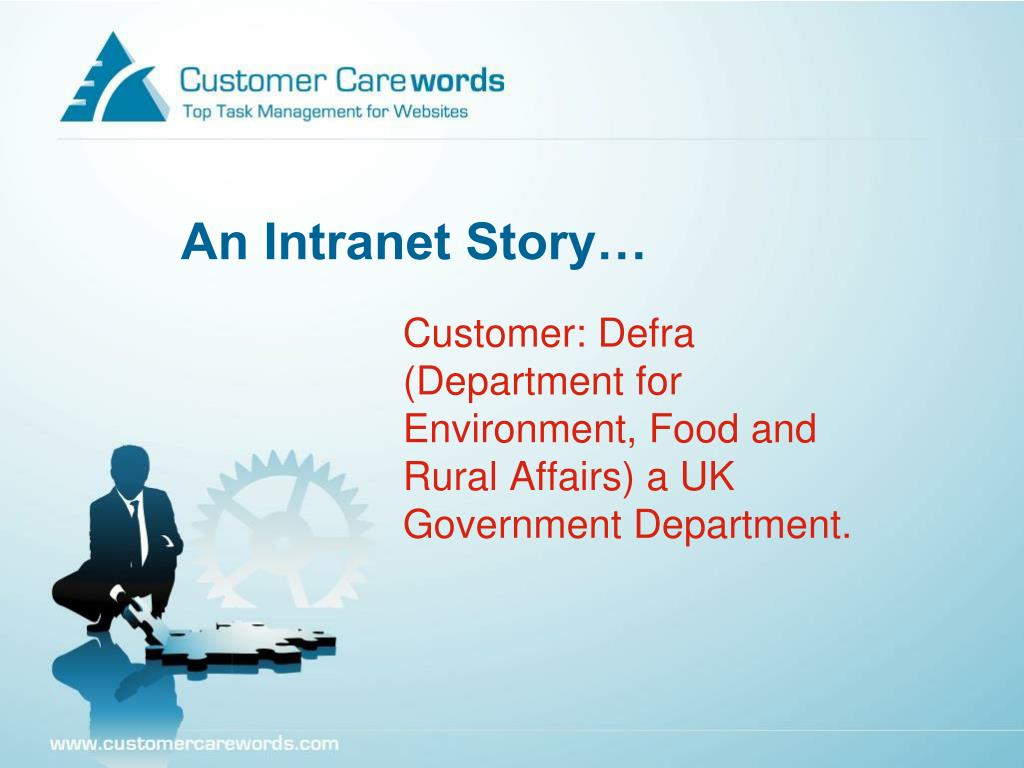 Customer: Defra (Department for Environment, Food and Rural Affairs) a UK Government Department.