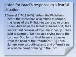 listen for israel s response to a fearful situation