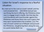 listen for israel s response to a fearful situation10
