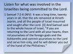 listen for what was involved in the israelites being committed to the lord