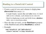 binding to a datagrid control