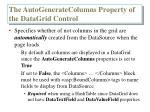 the autogeneratecolumns property of the datagrid control