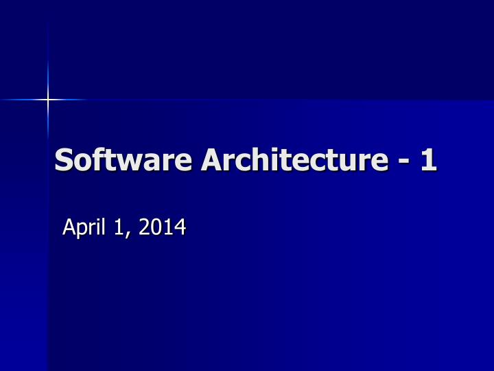software architecture 1 n.