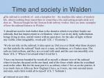 time and society in walden