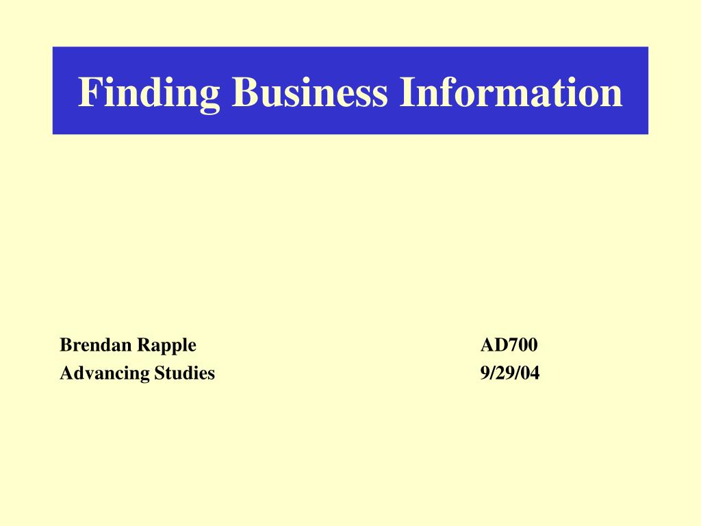 finding business information l.