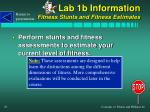 lab 1b information fitness stunts and fitness estimates