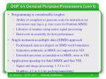 dsp on general purpose processors con t