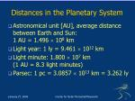 distances in the planetary system