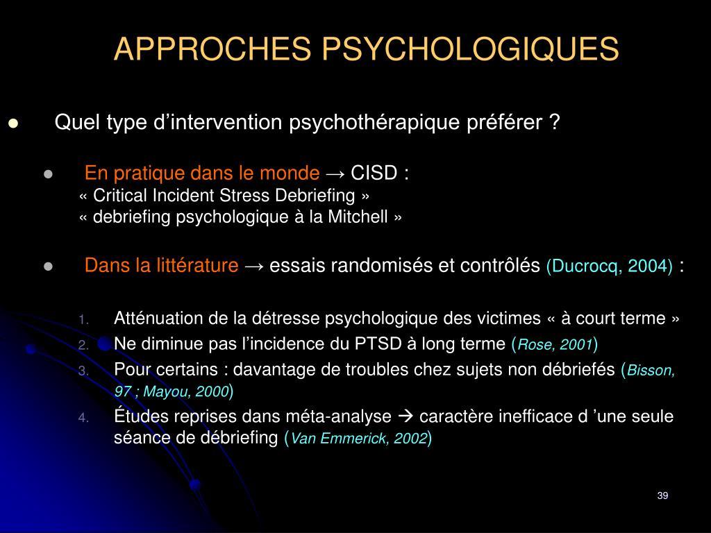 APPROCHES PSYCHOLOGIQUES