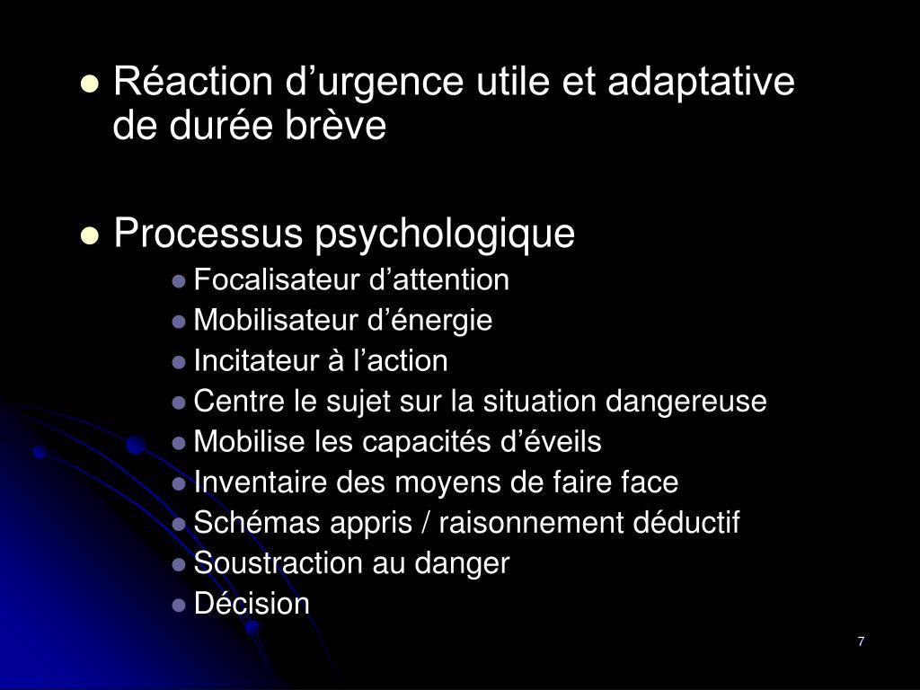 Réaction d'urgence utile et adaptative de durée brève