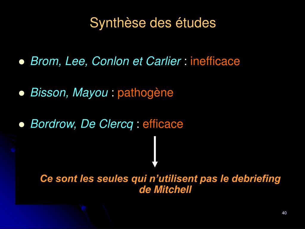 Synthèse des études