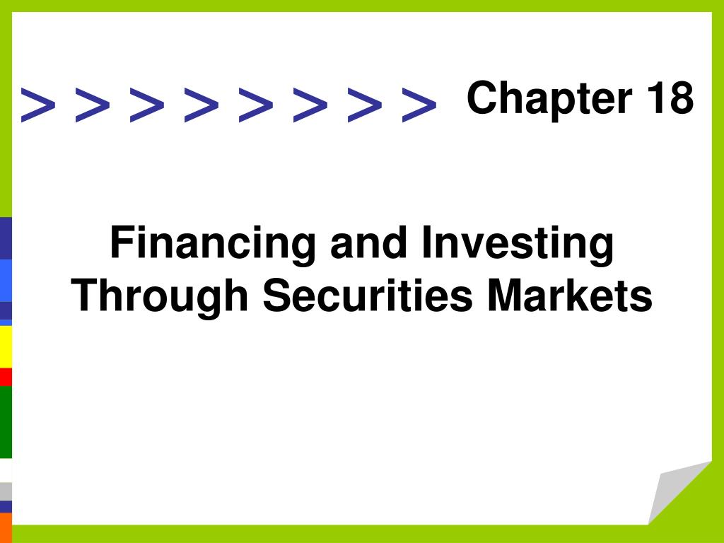 financing and investing through securities markets l.