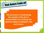 risk return trade off