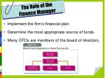 the role of the finance manager