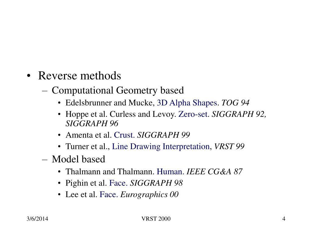 Reverse methods