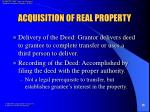 acquisition of real property10
