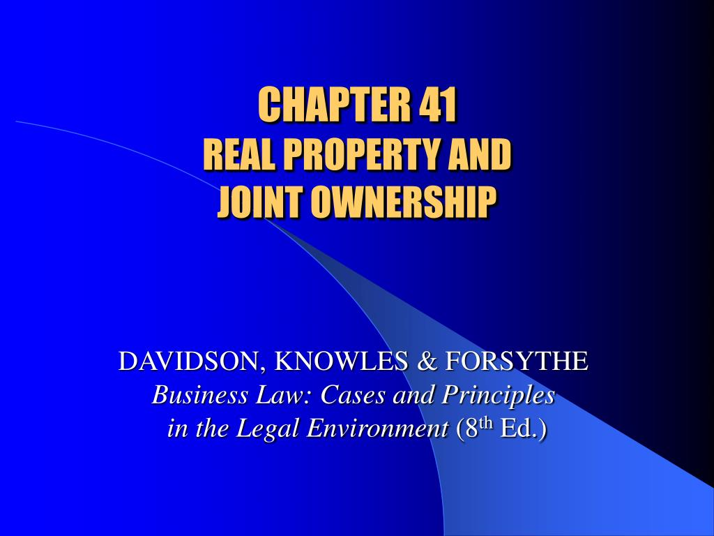 chapter 41 real property and joint ownership l.