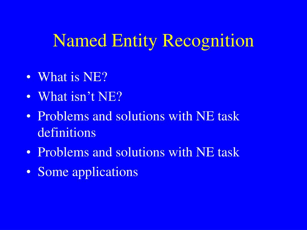 named entity recognition l.