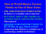 most of world history focuses mainly on one of these zones