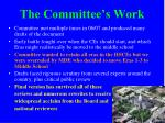 the committee s work
