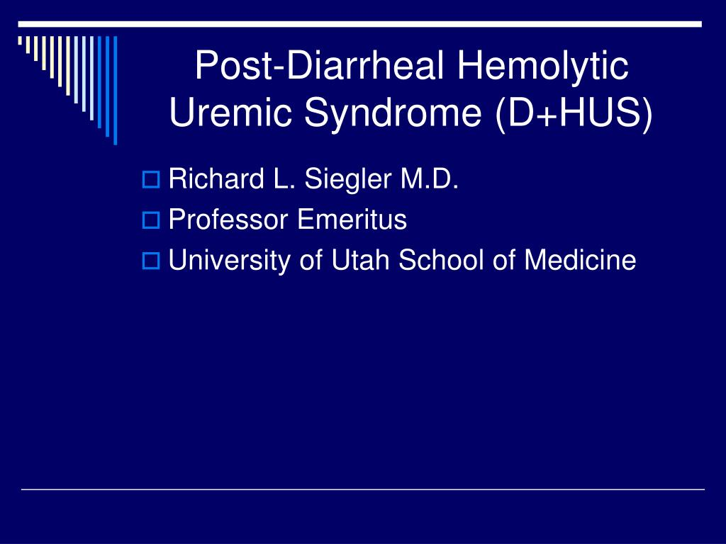 post diarrheal hemolytic uremic syndrome d hus l.