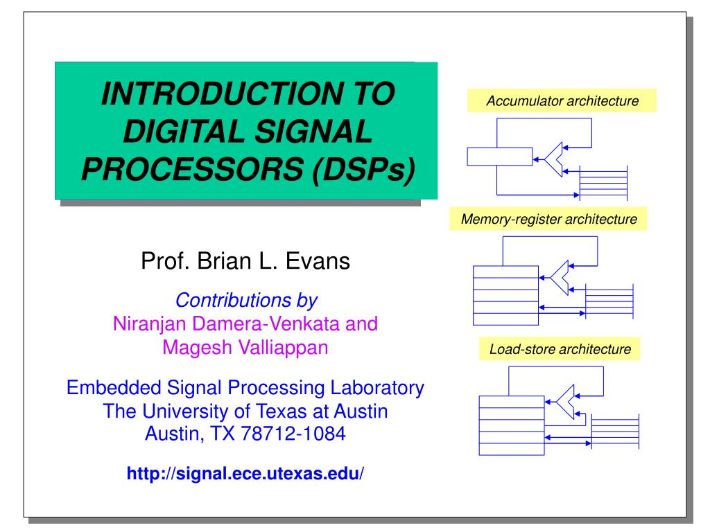 introduction to digital signal processors dsps l.