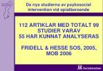 112 artiklar med totalt 99 studier varav 55 har kunnat analyseras fridell hesse sos 2005 mob 2006