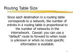 routing table size