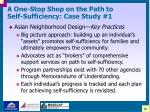 a one stop shop on the path to self sufficiency case study 121