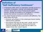 definition of self sufficiency continuum