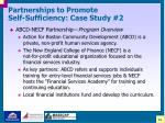 partnerships to promote self sufficiency case study 2