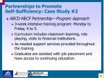 partnerships to promote self sufficiency case study 225