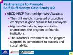 partnerships to promote self sufficiency case study 226