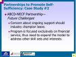 partnerships to promote self sufficiency case study 227
