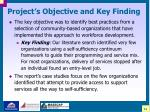 project s objective and key finding