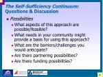 the self sufficiency continuum questions discussion41