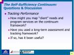 the self sufficiency continuum questions discussion42