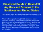 dissolved solids in basin fill aquifers and streams in the southwestern united states
