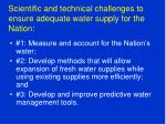 scientific and technical challenges to ensure adequate water supply for the nation