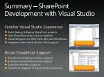 summary sharepoint development with visual studio