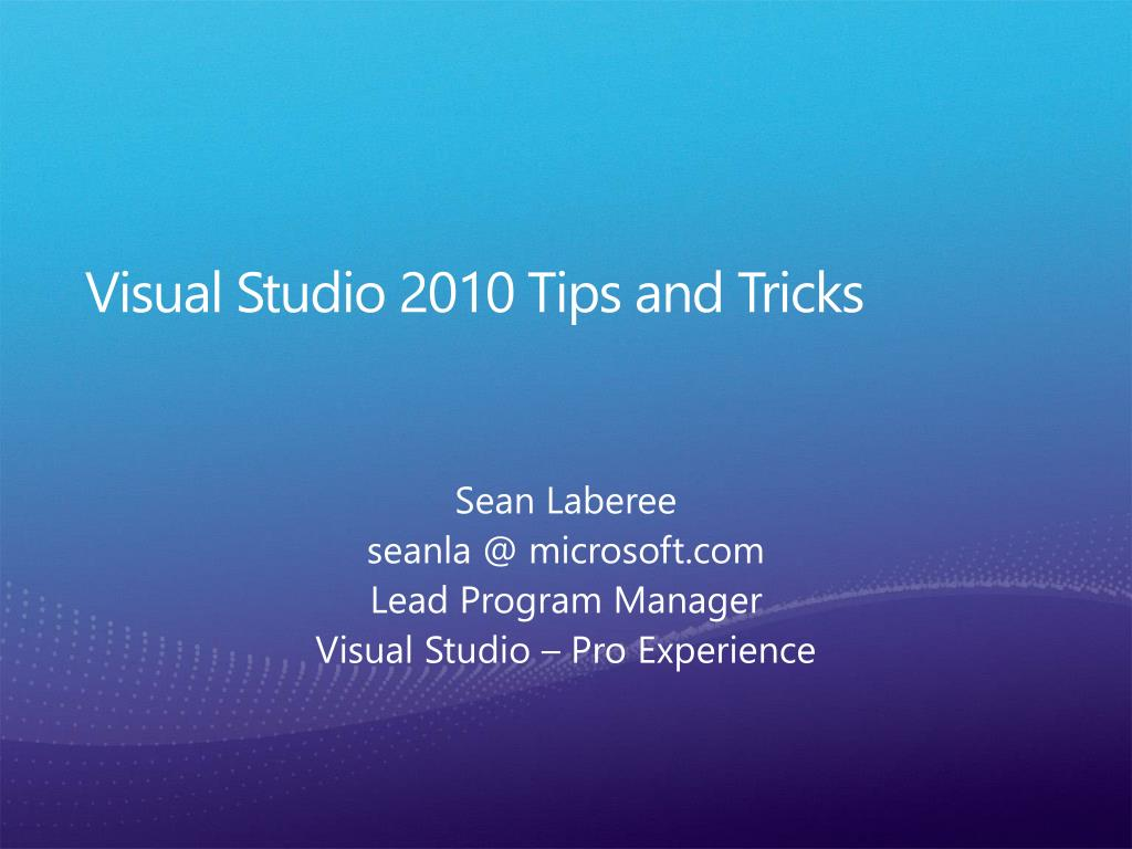 visual studio 2010 tips and tricks l.