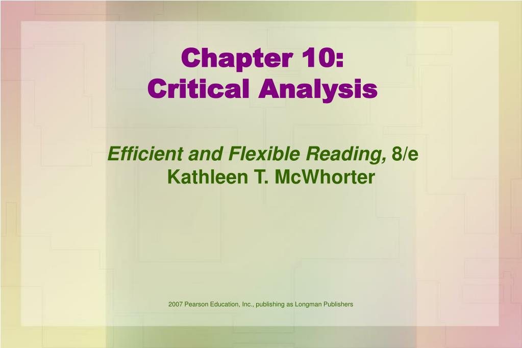 chapter 10 critical analysis l.